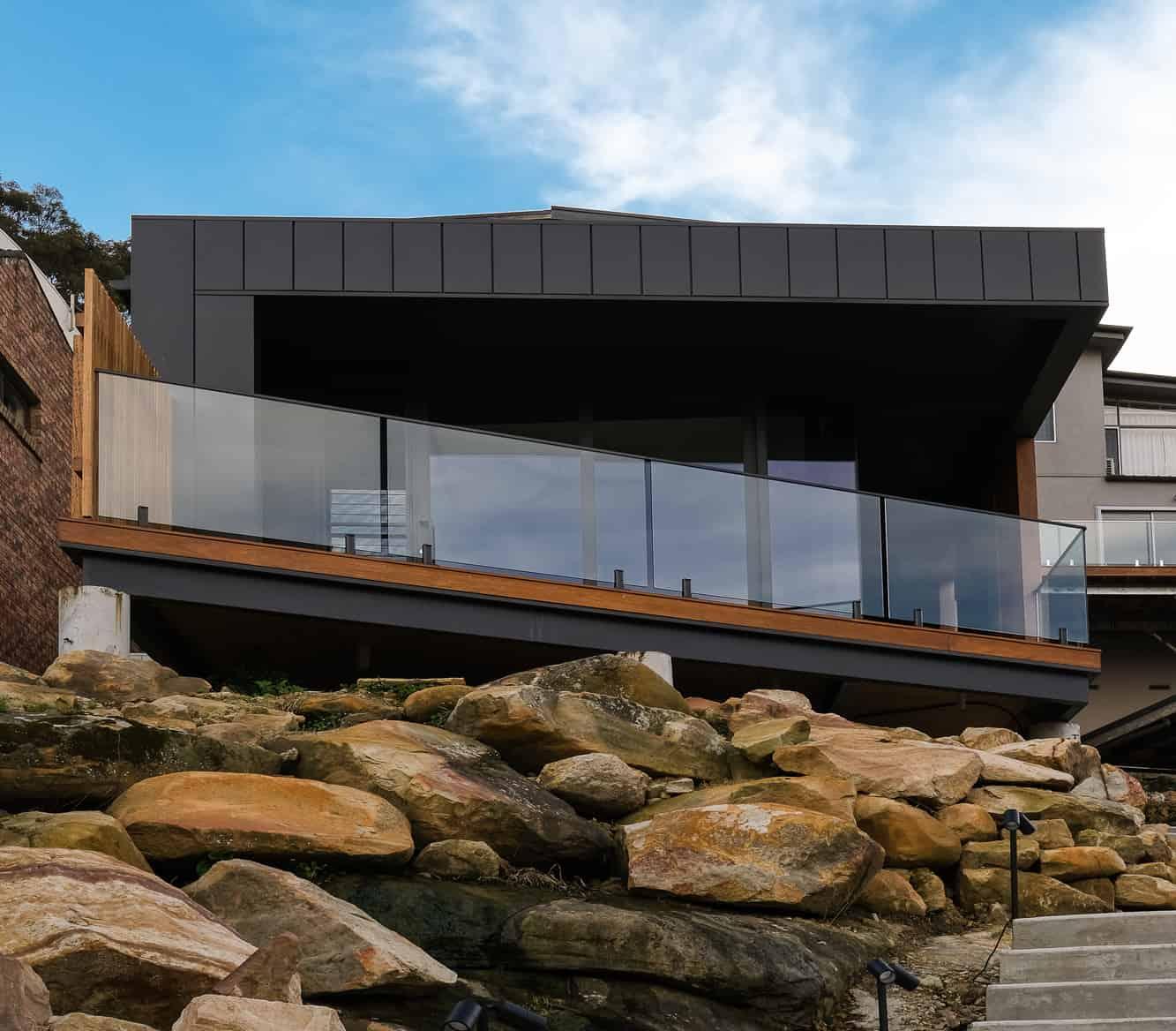 Street View of Seaforth Property Featuring Black Interlocking Panels